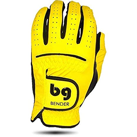 buy best pretty cheap good Bender Gloves Men's Synthetic Golf Glove (Worn on Left Hand) (Yellow,  Medium)