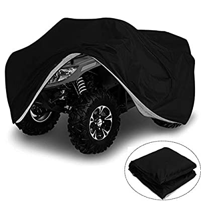 VVHOOY Waterproof Heavy Duty ATV Cover 210D All Weather Quad 4 Wheeler Covers Protect ATV From Sun Rain Dust Snow (XXXL,Black)