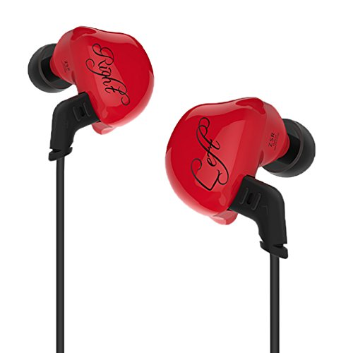 MagiDeal ZSR Hybrid Earphones Balanced Armature Dynamic In-ear Wired Music Earbuds Red by Unknown