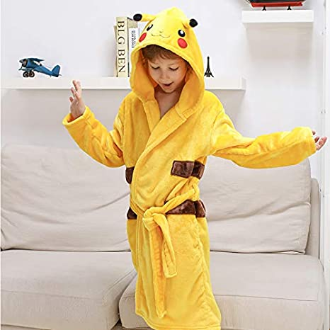 M/ädchen Jungen PikachuKost/üm Morgen Hausmantel Nachtw/äsche Pyjamas Taschen LuckyBaby Kinder Pikachu Badem/äntel Kapuzen Tier Bademantel