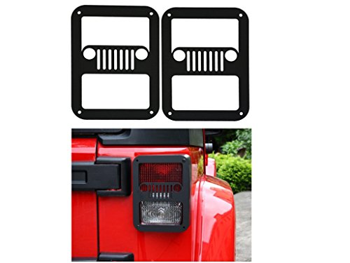 SXMA Taillight Cover Trim Guards Protector,Black Stainless Steel Guard Light Cover Kit for Jeep Wrangler JK JKU Sports Sahara Freedom Rubicon X & Unlimited 2007-2017(Black) ()