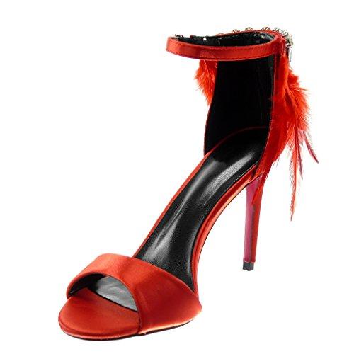 Angkorly Damen Schuhe Pumpe Sandalen - Stiletto - Knöchelriemen - Feder - Strass - String Tanga Stiletto High Heel 10 cm Rot