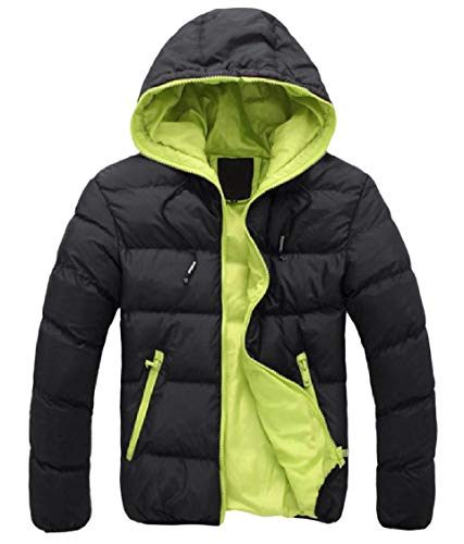 Oversized Pattern2 Zip Down Men's Warm Contrast Coat Hooded Energy Pocket Patched w0Zvn