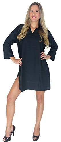 La Leela Black Rayon Hand Embroidered Tunic Beach Swimsuit Cover Up Caftan Women