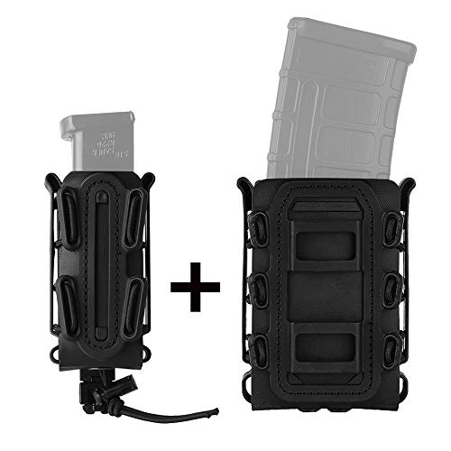 KRYDEX 5.56mm 7.62mm M4 M16 Rifle Magazine Pouch + 9mm Pistol Mag Pouch Tactical Softshell Mag Carrier Combo Pouch (Black)