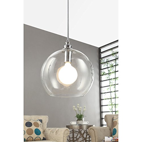Classic Chrome Landscape Lighting - Siam Circus Uptown Clear Globe 1-light Chrome Pendant