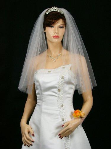 1T 1 Tier Cut Edge Bridal Wedding Veil Extra Full 108
