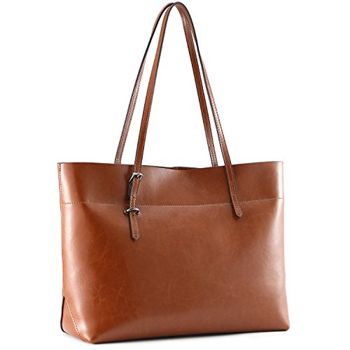Kattee Vintage Genuine Leather Tote Shoulder Bag With Adjustable Handles (Brown) (Shoulder Handbag Leather Tote)