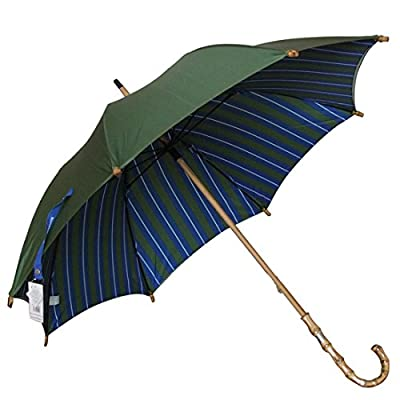 high-quality Kung Fu Smith Bamboo Hook Handle Double Canopy Windproof Stripes Rain UV Protection Stick Umbrella