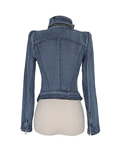 Azul Jackets Manga Chaquetas Retro Jacket Abrigo Fit Corto Vaquera De Slim Cazadora Larga Mezclilla Mujer Para Denim qaTTw0x51P