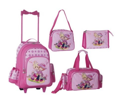 4 TEILE Stefano Travel SET Kindertrolley // AMIES GIRL FRIENDS // Trolley + Sporttasche + Umhängetasche + Kulturbeutel ROSA PINK
