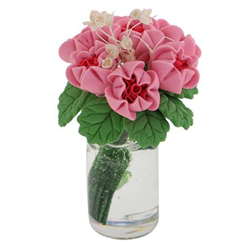 MonkeyJack 1:12 Scale Dollhouse Miniature Flower in Vase Fairy Garden Accessories