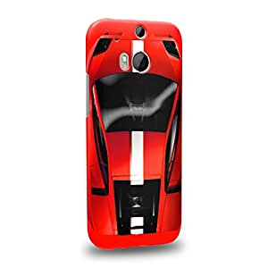 Case88 Premium Designs Art Collections Hand Drawing Sport Car Red Carcasa/Funda dura para el HTC One M8