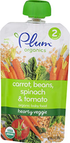 Plum Organics Second Blends Hearty Veggie Meal, Roasted Carrot, Spinach and Bean, 3.5 Ounce (Pack of 12)