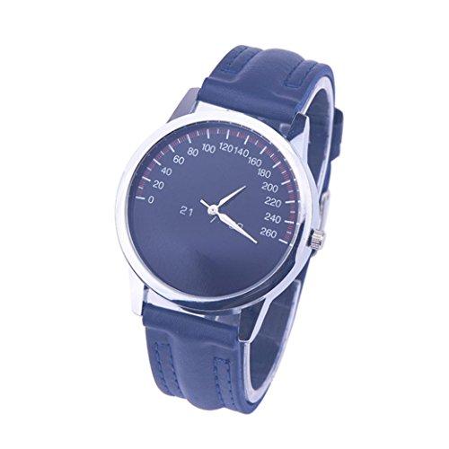 Transparent Dial Faux Leather Wrist Watch (Blue) - 1