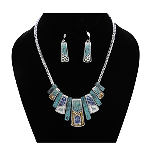 Mosaic Design Tribal Native American Style Southwest Silver & Turquoise Bib Necklace