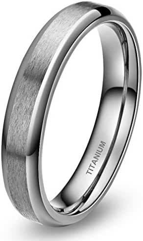 4mm Silver Brushed Titanium Ring for Women Comfort Fit Wedding Band Beveled Edges