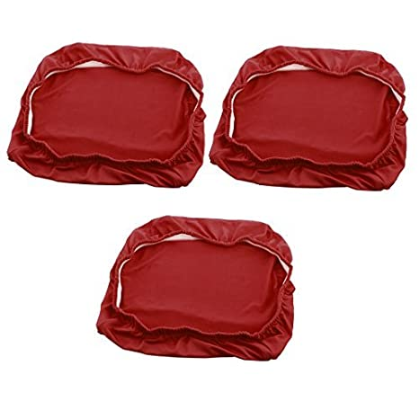eDealMax Spandex estiramiento extraíble Comedor heces Silla de cubierta de asiento de fundas 3 piezas Rojo