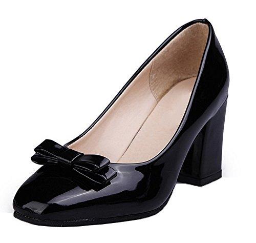cierre VogueZone009 zapatos de Zapatos con para tacón mujer con tacón alto alto negros cerrado PU de 67xwr1zq6