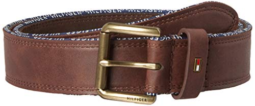 Tommy Hilfiger Men's Leather Belt – Casual or Dress for Men with Stripe Stitching on Strap Classic Single Prongle Buckle