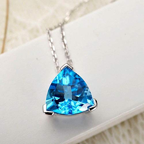 (FidgetKute Shiny Triangle Titanic Ocean Blue Topaz Gems Silver Necklace Pendants)