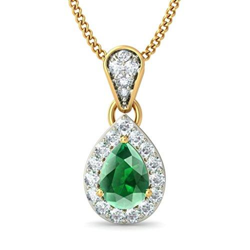 14K Or jaune 0,28CT TW Round-cut-diamond (IJ | SI) et pendentif Émeraude