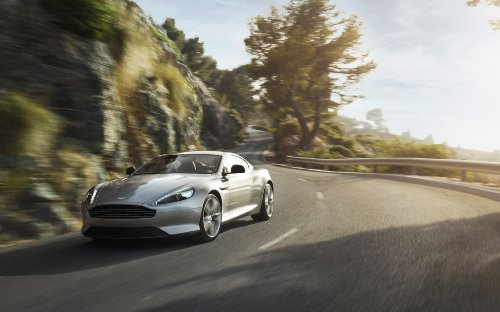 Coupe Martin Db9 Aston (Aston Martin DB9 Coupé (2012) Car Art Poster Print on 10 mil Archival Satin Paper Silver Front Side Motion View 36