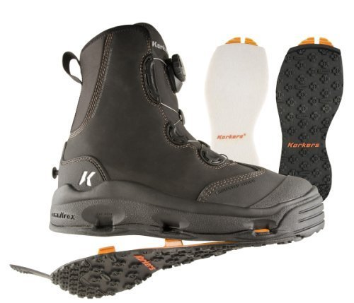 Korkers Devil's Canyon Wading Boot with Felt and Kling-On Outsoles, Black, 7 by Korkers