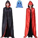 Capa Negro Rojo con Capucha Adulto Niño Niña, Unisex Disfraces Disfraz de Halloween Hombre Mujer Brujo Bruja Vampira