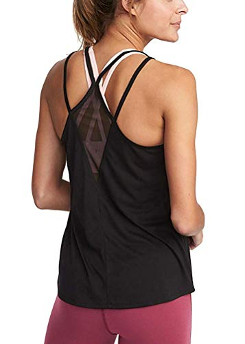 Mippo Women's Summer Workout Tank Tops Cute Yoga Top Solid Casual Muscle Shirt Sexy Backless Sleeveless Stretch Flowy Soft Strappy with Mesh Gym Clothes Black M