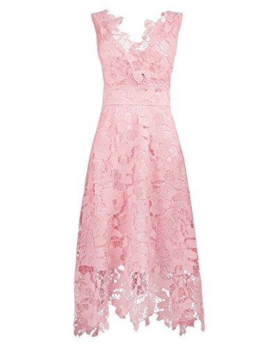 KIMILILY Women's Pink V Neck Elegant Floral Lace Prom Cocktail Dress (M)