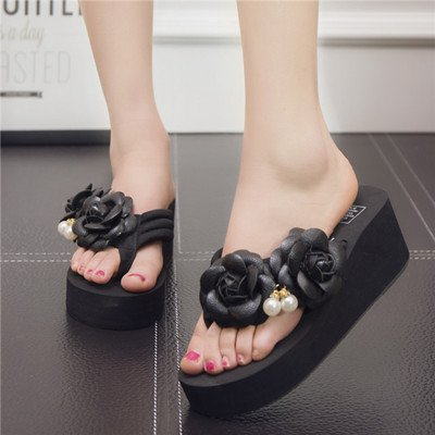 Forty High Black Ladies' Sandals Sandals Bottom myldy and Thick Heels E8BxxHwq
