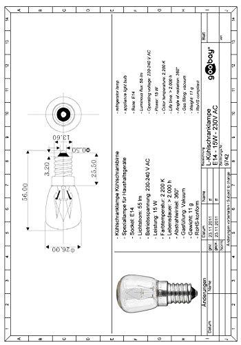 goobay 9742 Bombilla Lampara de frigorifico, E14, 15W-230V, 5.4x2 ...