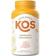 KOS Organic Cordyceps Capsules - Potent, Dual-Extracted Cordyceps Sinensis Capsules - Endurance amp;...