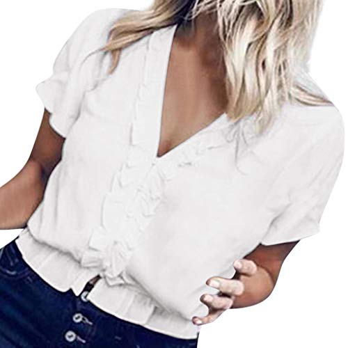 GHrcvdhw Women Summer Blouses Tops Womens Casual V-Neck Short Sleeve Solid Ruffled Pleats Pullover Shirt White