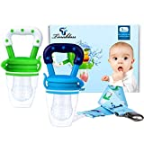 Tinabless Baby Food Feeder, Fresh Fruit Feeder Infant Teething Toy Nibbler Teether Pacifier and Silicone Pouches for Baby with Clip M (2Pcs)