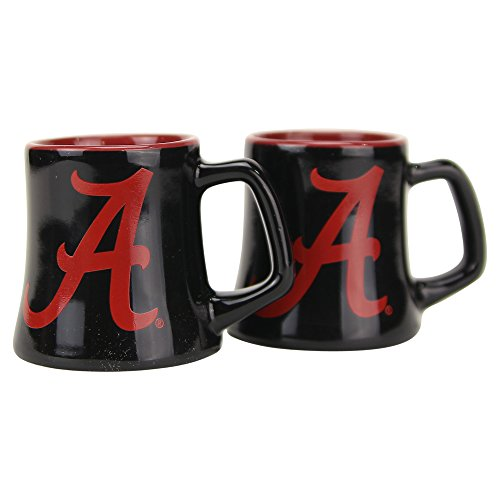 NCAA Full Color Sclupted Mug 2oz Shot Glass 2-Pack (Alabama Crimson Tide)