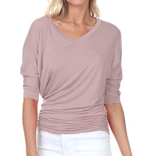 iliad USA 7006 Womens V-Neck 3/4 Sleeve Side Shirring Drape Dolman Top Mauve 2XL ()