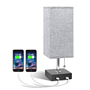 USB Bedside Table Lamp, Aooshine Modern Table & Bedside Lamp with 2 Useful USB Quick Charging Port, Grey Square Fabric…