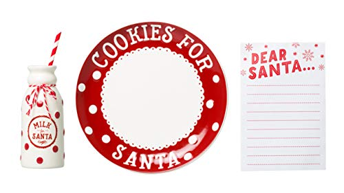 Pearhead Holiday Cookies for Santa Plate Set, Perfect Christmas Craft Includes Plate, Jug and Notepad to Leave Cookies and Milk for Santa on Christmas Eve