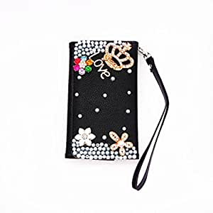 Black Crown Luxury Bling Cute Lovely Fashion Diamonds Leather Deluxe Crystal Wallet Flip Lanyard Bag Case Cover For Sony Xperia Z1 S C6916