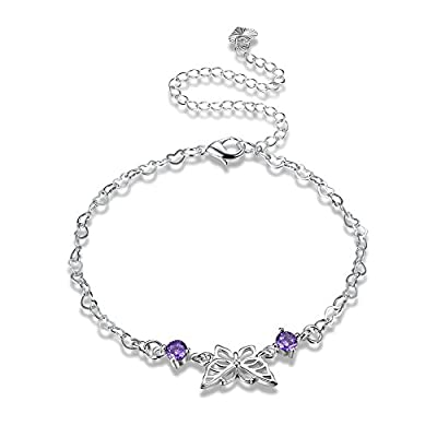 Nice Women Butterfly Hollow Out Purple Crystal Ankle Bracelet Silver Plated Jewelry Barefoot Sandal Beach Foot Chain for sale