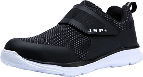 - LARNMERN Men's Steel Toe Work Shoes, LM-711 Flyknit Breathable Lightweight Safety Shoes with Magic Tape (10, Black)