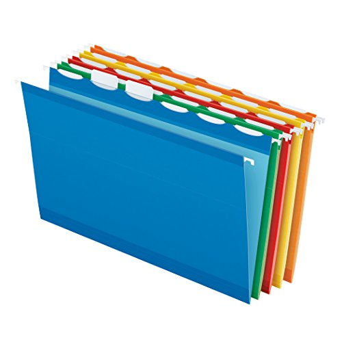 Pendaflex Ready-Tab Reinforced Hanging File Folders, Legal Size, Assorted Colors, 6 Tab, 25/BX (42597)