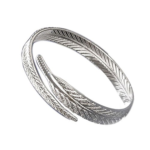 [Willsa Fashion Women's Silver Plated Feather Open Cuff Bangle Bracelet Jewelry] (Accent Hinged Bangle)