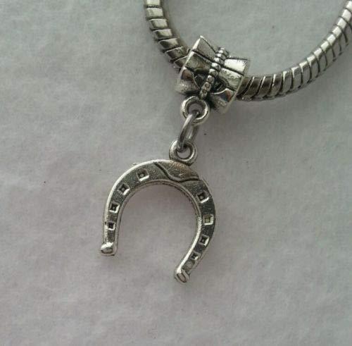 Pendant Jewelry Making Lucky Horse Shoe Horseshoe Slide Dangle Charm Fits European Style - Pendant Horseshoe Slide