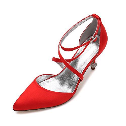 la da Moda adulti di parte Calzature di rosso punta raso ballo Il del High regalo Wedding scarpa Scarpe Heel Qingchunhuangtang seta per per Donna scarpe scarpe In numero Hxz4HqTw