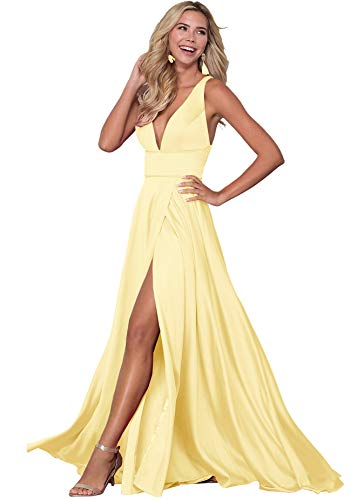 V Neck Prom Dress with Pockets 2019 Long Split Pageant Evening Party Gowns Z22 ()