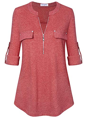 Icon Lady In Red - Bulotus Women Tunic Tops 3/4 Sleeve Shirts for Leggings (Small, Light Red)
