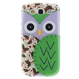 HOR Caso duro Green Owl Pattern para Samsung Galaxy S3 I9300